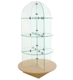 Glass merchandiser with round base montreal